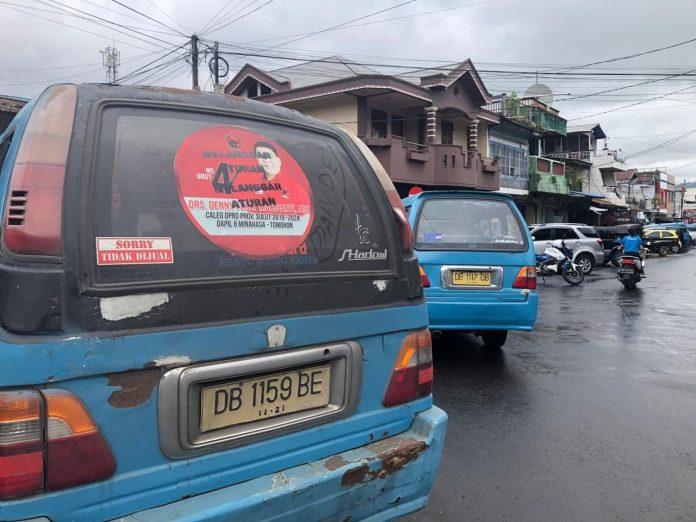 Salah satu mobil angkutan umum di Tondano yang terjaring penertiban
