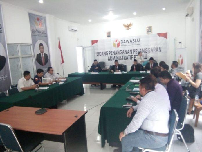 Suasana sidang dugaan pelanggaran administrasi FER yang digelar Bawaslu Sulut.